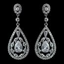 Elegance by Carbonneau Antique Rhodium Silver Clear CZ Crystal Teardrop Earrings 7769