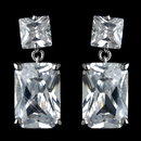Elegance by Carbonneau Antique Rhodium Silver Clear Princess Cut CZ Crystal Drop Earrings 7781