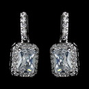 Elegance by Carbonneau Antique Rhodium Silver Clear Princess Cut CZ Crystal Drop Earrings 7782