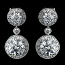 Elegance by Carbonneau Antique Rhodium Silver Clear Solitaire Encrusted CZ Crystal Drop Earrings 7789