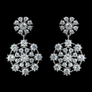 Elegance by Carbonneau Antique Rhodium Silver Clear Cluster Drop CZ Crystal Earrings 7792