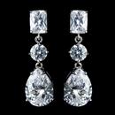 Elegance by Carbonneau Antique Rhodium Silver Clear Princess, Solitaire & Teardrop CZ Crystal Earrings 7793
