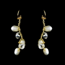 Elegance by Carbonneau E-7829-Gold Gold Silk White Pearl Clear Crystal Earring Set 7829