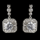 Elegance by Carbonneau Antique Silver Rhodium Clear Round CZ Crystal Drop Earrings 7845