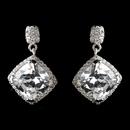 Elegance by Carbonneau Antique Rhodium Silver Clear Diamond Shaped CZ Crystal Drop Earrings 7846