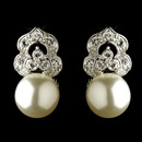 Elegance by Carbonneau Antique Rhodium Silver Clear CZ & Diamond White Pearl Clip On Earrings 7860