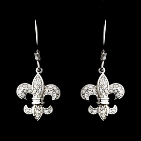 Elegance by Carbonneau E-8120-AS-Clear Silver Cubic Zirconia Fleur De Lis Earring Set 8120