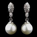 Elegance by Carbonneau E-8313-AS-Pearl Silver CZ & Pearl Earrings 8313