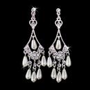 Elegance by Carbonneau E-8446 Beautiful Silver Diamond White Chandelier Earrings E 8446