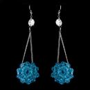 Elegance by Carbonneau E-8551-Aqua Aqua Beaded Ball Earring Set 8551