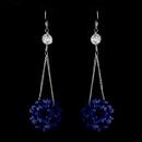Elegance by Carbonneau E-8551-Blue Blue Aurora Borealis Beaded Ball Earring Set 8551