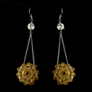 Elegance by Carbonneau E-8551-Topaz Topaz Beaded Ball Earring Set 8551
