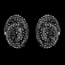 Elegance by Carbonneau E-8589-Black-Diamond Hematite Black Diamond Crystal Clip-On Earrings E 8589