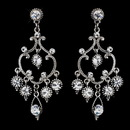 Elegance by Carbonneau E-8590 Exquisite Antique Silver Chandelier Earrings w/ Clear Crystals 8590
