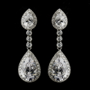 Elegance by Carbonneau E-8656-AS-Clear Antique Silver Clear Dangle Tear Drop CZ Crystal Bridal Earrings 8656