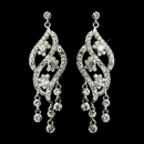 Elegance by Carbonneau E-8657-S-Clear Silver Clear Rhinestone Dangle Bridal Earrings 8657