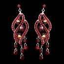 Elegance by Carbonneau E-8657-S-Red Silver Red & AB Rhinestone Dangle Bridal Earrings 8657