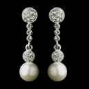 Elegance by Carbonneau E-8680-AS-DW Antique Silver Clear Rhinestone and Diamond White Pearl Ball Bridal Earrings 8680