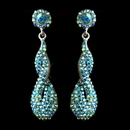 Elegance by Carbonneau E-8682-AS-Turquoise Antique Silver Turquoise AB Rhinestone & Crystal Dangle Bridal Earrings 8682