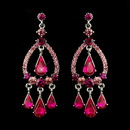 Elegance by Carbonneau E-8686-S-Fuchsia Silver Fuchsia Crystal & Rhinestone Chandelier Bridal Earrings 8686