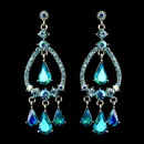 Elegance by Carbonneau E-8686-S-Turquoise-AB Silver Turquoise AB Crystal & Rhinestone Chandelier Bridal Earrings 8686