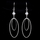 Elegance by Carbonneau E-8725-S-Clear Silver Clear Oval Crystal Dangle Earrings 8725