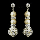 Elegance by Carbonneau E-8751-S-Ivory Pearl & Silver Ivory Rondelle Drop Bridal Earrings 8751