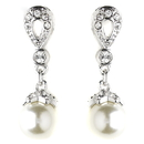 Elegance by Carbonneau E-8763-AS-Ivory Silver Ivory Pearl & CZ Crystal Drop Earrings 8763