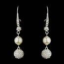 Elegance by Carbonneau E-8767-S-DW Silver Diamond White Pearl & Clear Rhinestone Pave Ball Dangle Earrings 8767