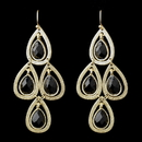 Elegance by Carbonneau E-8839-G-Black Gold Black Crystal Fashion Dangle Earrings 8839