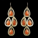 Elegance by Carbonneau E-8839-G-Orange Gold Orange Crystal Fashion Dangle Earrings 8839