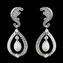Elegance by Carbonneau E-8915-AS-DW Antique Rhodium Silver Diamond White Freshwater Pearl Kate Middleton Inspired Earrings 8915