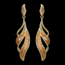 Elegance by Carbonneau E-8941-G-Orange Gold Orange Rhinestone Dangle Earrings 8941