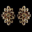 Elegance by Carbonneau E-8944-G-Brown Gold Brown Rhinestone Clip On Earrings 8944