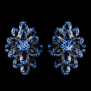 Elegance by Carbonneau E-8944-H-Navy Hematite Navy Blue & Lt Blue Rhinestone Clip On Earrings 8944