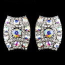 Elegance by Carbonneau E-8947-AS-AB Antique Silver AB Rhinestone Clip On Earrings 8947