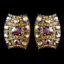 Elegance by Carbonneau E-8947-G-AB Gold with AB & Lt Brown Rhinestone Clip On Earrings 8947