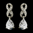 Elegance by Carbonneau E-9243-AS-Clear Silver Clear Love Knot CZ & Austrian Crystal Drop Bridal Earrings 9243