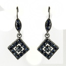 Elegance by Carbonneau E-9245-H-Navy Hematite Navy Austrian Crystal Drop Bridal Earrings 9245