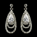 Elegance by Carbonneau E-9247-AS-Clear Antique Silver Clear CZ Crystal & Rhinestone Drop Bridal Earrings 9247