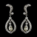 Elegance by Carbonneau E-9255-AS-DW Silver Diamond White Pearl & CZ Crystal Kate Middleton Bridal Wedding Earrings 9255