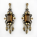 Elegance by Carbonneau E-936-Gold-Brown Vintage Gold Brown Crystal Drop Earrings E 936