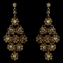 Elegance by Carbonneau E-939-Gold-Brown Glamorous Gold & Brown Chandelier Earrings E 939
