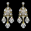 Elegance by Carbonneau E-943-Gold-Clear-AB Celebrity Style Gold Clear AB Chandelier Earrings E 943