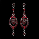 Elegance by Carbonneau E-947-Silver-Red Red Vintage Dangle Earrings E 947