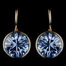 Elegance by Carbonneau E-9600-G-Lt-Sapphire Gold Light Sapphire Blue Swarovski Crystal Element Round Leverback Earrings 9600