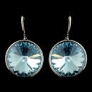 Elegance by Carbonneau E-9603-S-Aqua Silver Aqua Swarovski Crystal Element Large Round Leverback Earrings 9603