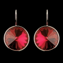 Elegance by Carbonneau E-9603-S-Red Silver Red Swarovski Crystal Element Large Round Leverback Earrings 9603