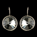 Elegance by Carbonneau E-9603-S-Smoke Silver Black Diamond Smoke Swarovski Crystal Element Large Round Leverback Earrings 9603