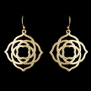 Elegance by Carbonneau E-9629-G Light Matt Gold Dangle Floral Artistic Earrings 9629